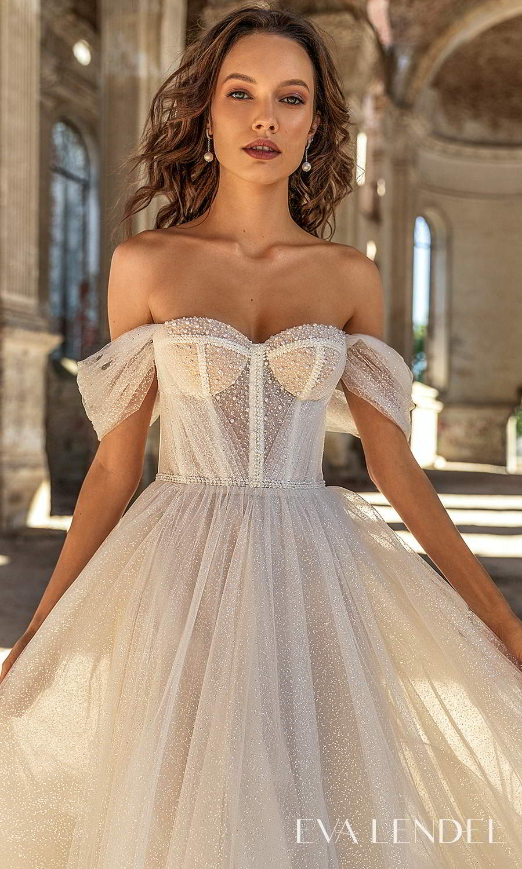 eva lendel 2021 golden hour bridal off shoulder swag straps sweetheart neckline fully embellished a line ball gown wedding dress chapel train (sky) mv
