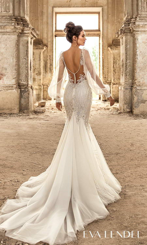 eva lendel 2021 golden hour bridal sheer long bishop puff sleeve plunging v neckline fully embellished fit flare mermaid wedding dress chapel train (lennox) bv