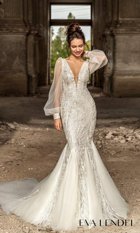 eva lendel 2021 golden hour bridal sheer long bishop puff sleeve plunging v neckline fully embellished fit flare mermaid wedding dress chapel train (lennox) mv