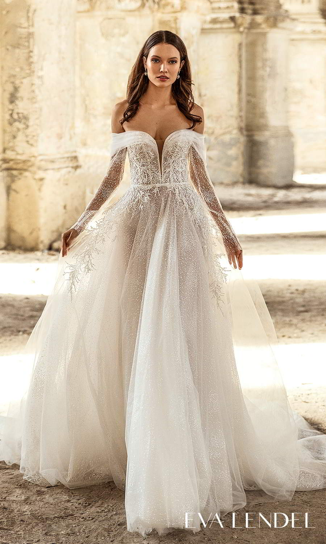 eva lendel 2021 golden hour bridal sheer long sleeve off shoulder plunging sweetheart neckline embellished bodice a line ball gown wedding dress chapel train (alisia) mv