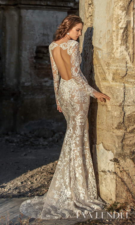 eva lendel 2021 golden hour bridal sheer long sleeve plunging v neckline fully embellished sheath wedding dress chapel train cutout back (georgina) mv