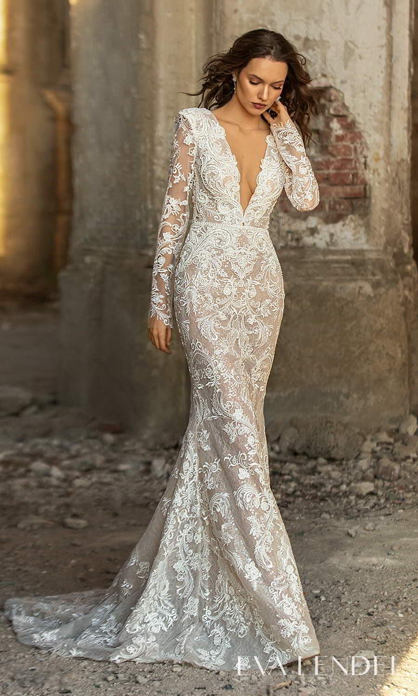 eva lendel 2021 golden hour bridal sheer long sleeve plunging v neckline fully embellished sheath wedding dress chapel train (georgina) mv