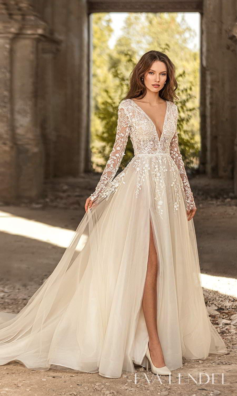 eva lendel 2021 golden hour bridal sheer long sleeve v neckline heavily embellished bodice a line ball gown wedding dress chapel train slit skirt (florence) mv
