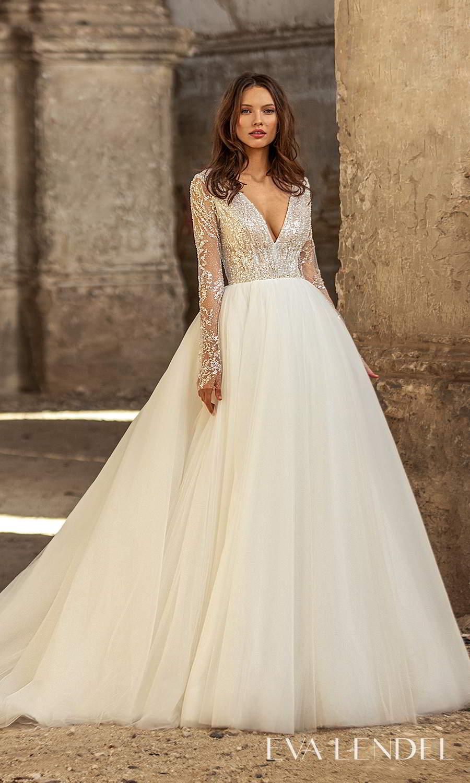 eva lendel 2021 golden hour bridal sheer long sleeve v neckline heavily embellished bodice clean skirt a line ball gown wedding dress chapel train (cler) mv