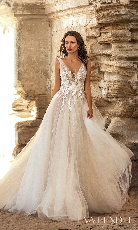 eva lendel 2021 golden hour bridal sleeveless straps plunging v neckline embellished bodice a line ball gown wedding dress chapel train (may) mv