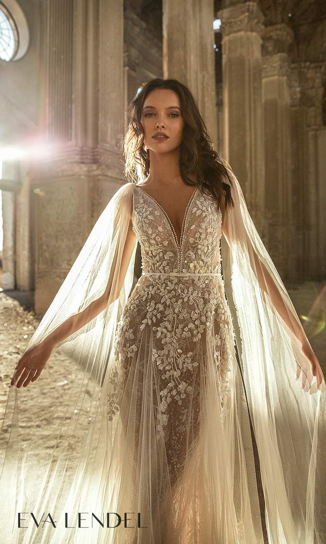 eva lendel 2021 golden hour bridal sleeveless straps plunging v neckline fully embelilshed sheath wedding dress sheer a line overskirt chapel train shoulder cape (dream) zv