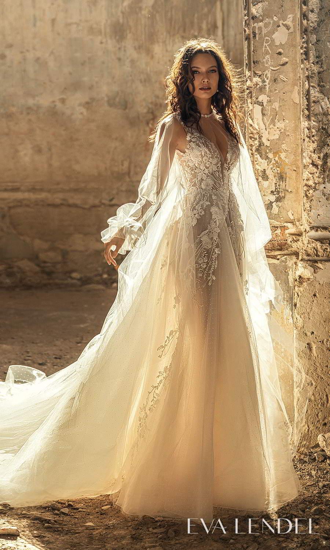eva lendel 2021 golden hour bridal sleeveless straps plunging v neckline fully embellished a line ball gown wedding dress chapel train long sleeve top (sharon) mv
