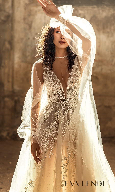 eva lendel 2021 golden hour bridal sleeveless straps plunging v neckline fully embellished a line ball gown wedding dress chapel train long sleeve top (sharon) zv