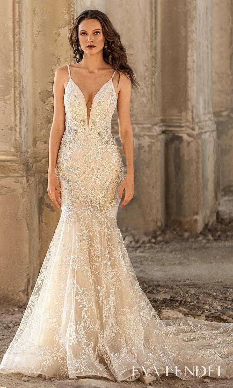 eva lendel 2021 golden hour bridal sleeveless straps plunging v neckline fully embellished fit flare mermaid wedding dress chapel train (hadley) mv