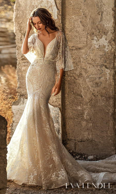 eva lendel 2021 golden hour bridal sleeveless straps plunging v neckline fully embellished fit flare mermaid wedding dress chapel train sheer capelet (hadley) mv