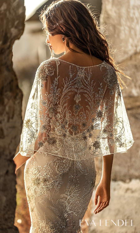 eva lendel 2021 golden hour bridal sleeveless straps plunging v neckline fully embellished fit flare mermaid wedding dress chapel train sheer capelet (hadley) zbv