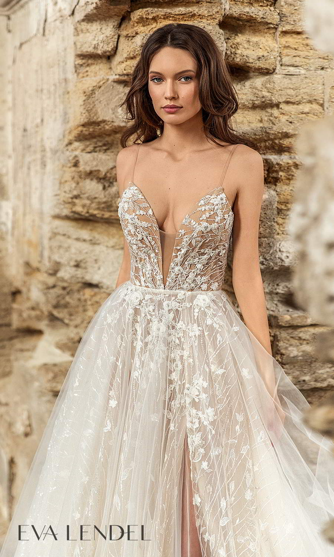 eva lendel 2021 golden hour bridal sleeveless straps plunging v neckline fully embellished lace a line ball gown wedding dress chapel train (carol) zv