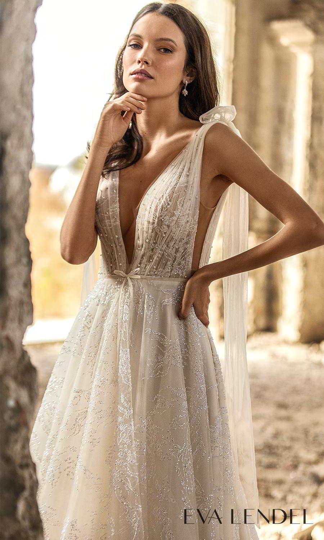 eva lendel 2021 golden hour bridal sleeveless straps plunging v neckline fully embellished ruched bodice a line ball gown wedding dress chapel train (simona) zv