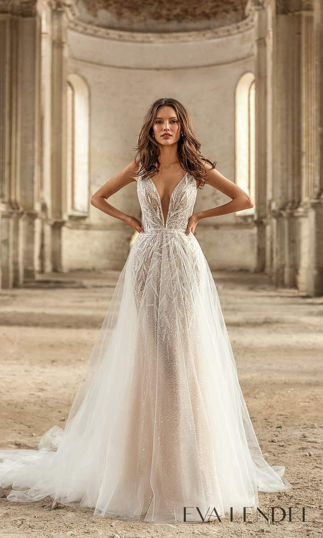 eva lendel 2021 golden hour bridal sleeveless straps plunging v neckline fully embellished sheath wedding dress a line overskirt chapel train (rebeka) mv
