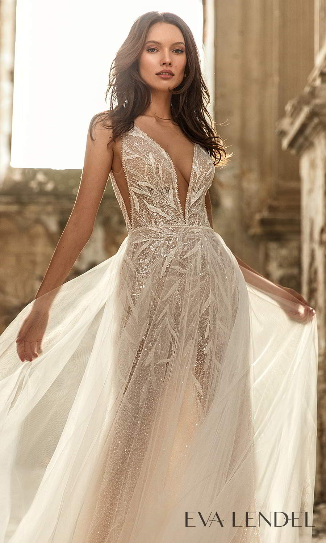 eva lendel 2021 golden hour bridal sleeveless straps plunging v neckline fully embellished sheath wedding dress a line overskirt chapel train (rebeka) zv