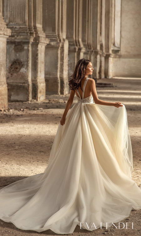 eva lendel 2021 golden hour bridal sleeveless straps plunging v neckline ruched bodice a line ball gown wedding dress chapel train (kerry) bv