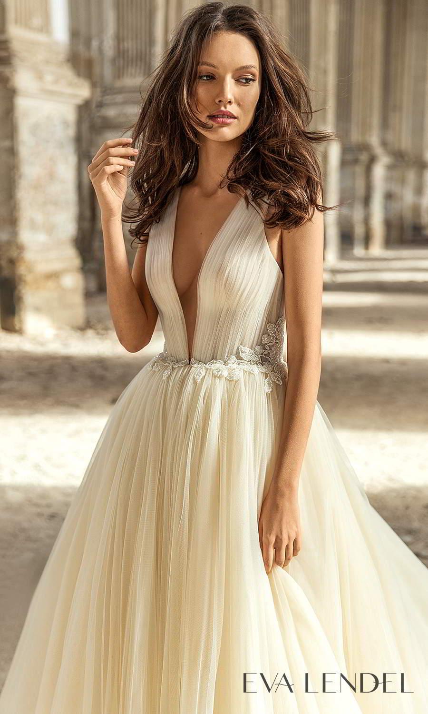 eva lendel 2021 golden hour bridal sleeveless straps plunging v neckline ruched bodice a line ball gown wedding dress chapel train (kerry) zv