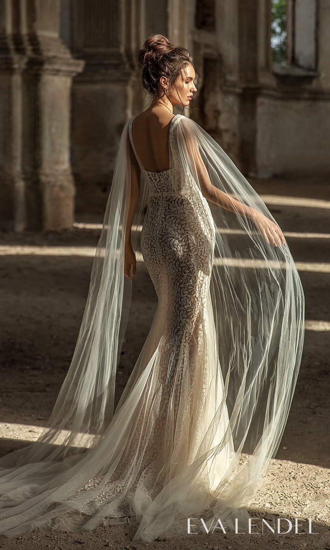 eva lendel 2021 golden hour bridal sleeveless straps square neckline shoulder cape fully embellished sheath wedding dress chapel train (liana) bv