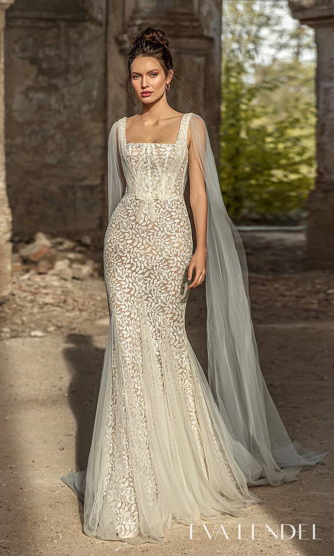 eva lendel 2021 golden hour bridal sleeveless straps square neckline shoulder cape fully embellished sheath wedding dress chapel train (liana) mv