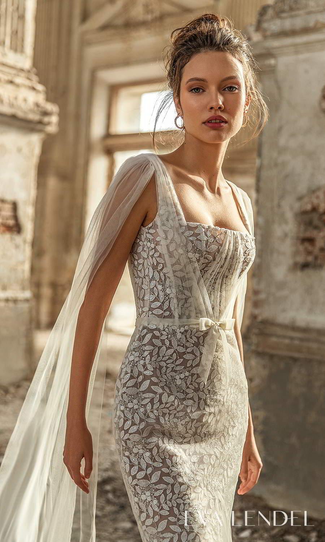 eva lendel 2021 golden hour bridal sleeveless straps square neckline shoulder cape fully embellished sheath wedding dress chapel train (liana) zv
