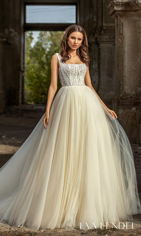 eva lendel 2021 golden hour bridal sleeveless straps square necklnie embellished bodice a line ball gown wedding dress chapel train (dixie) mv