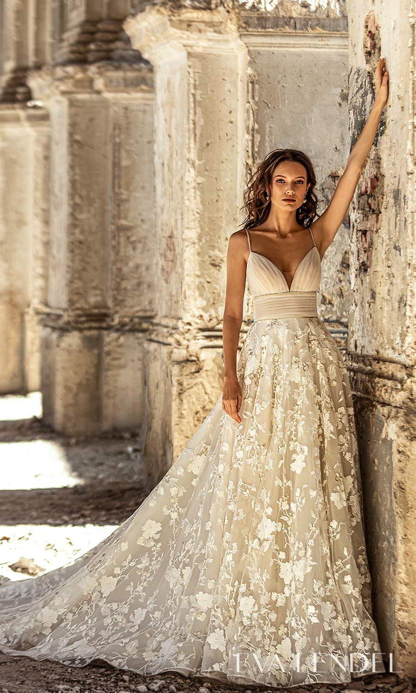 eva lendel 2021 golden hour bridal sleeveless straps sweetheart neckline ruched bodice embellished skirt a line ball gown wedding dress chapel train (lesley) mv