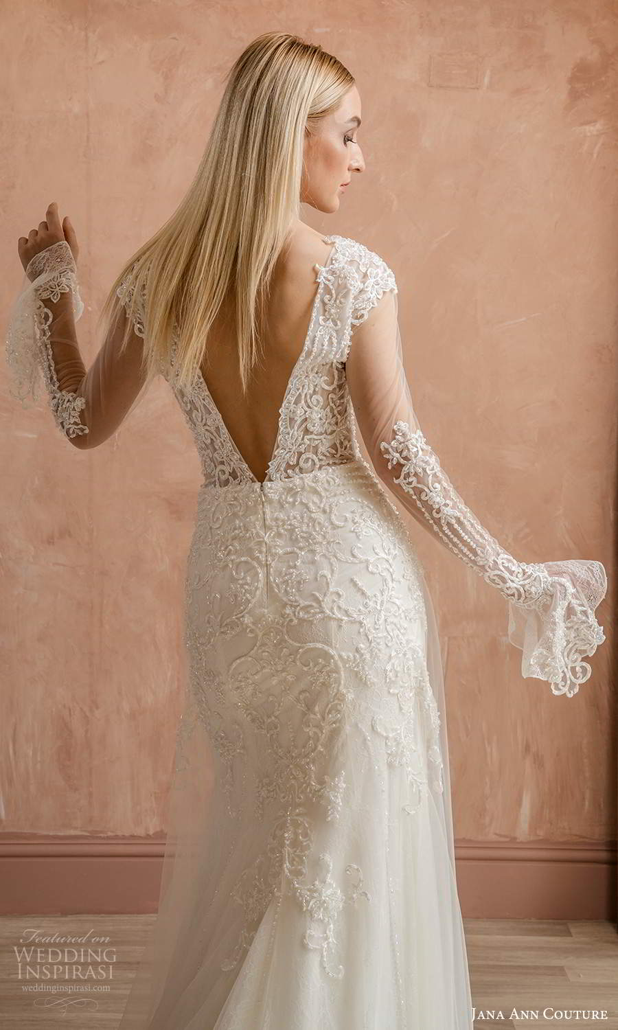 jana ann couture 2021 bridal long sleeves v neckline fully embellished sheath wedding dress chapel train (9) zbv