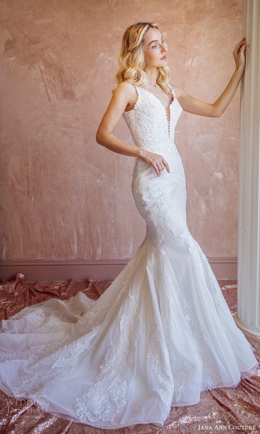 jana ann couture 2021 bridal sleeveless straps plunging v neckline fully embellished fit flare mermaid wedding dress chapel train (21) mv