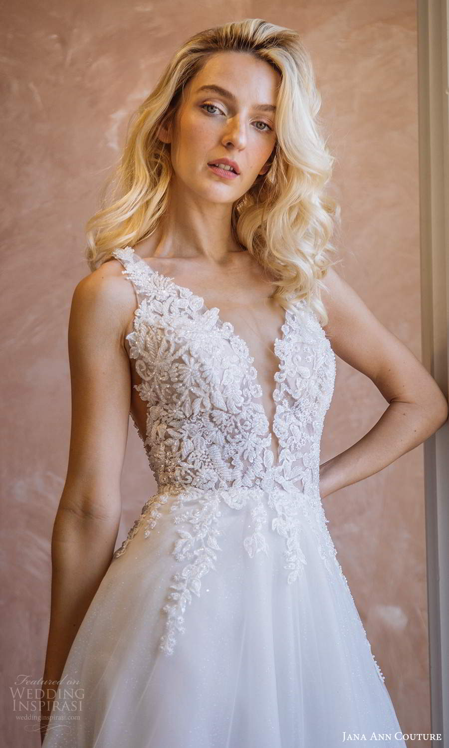 jana ann couture 2021 bridal sleeveless straps plunging v neckline heavily embellished bodice a line ball gown wedding dress (22) zv