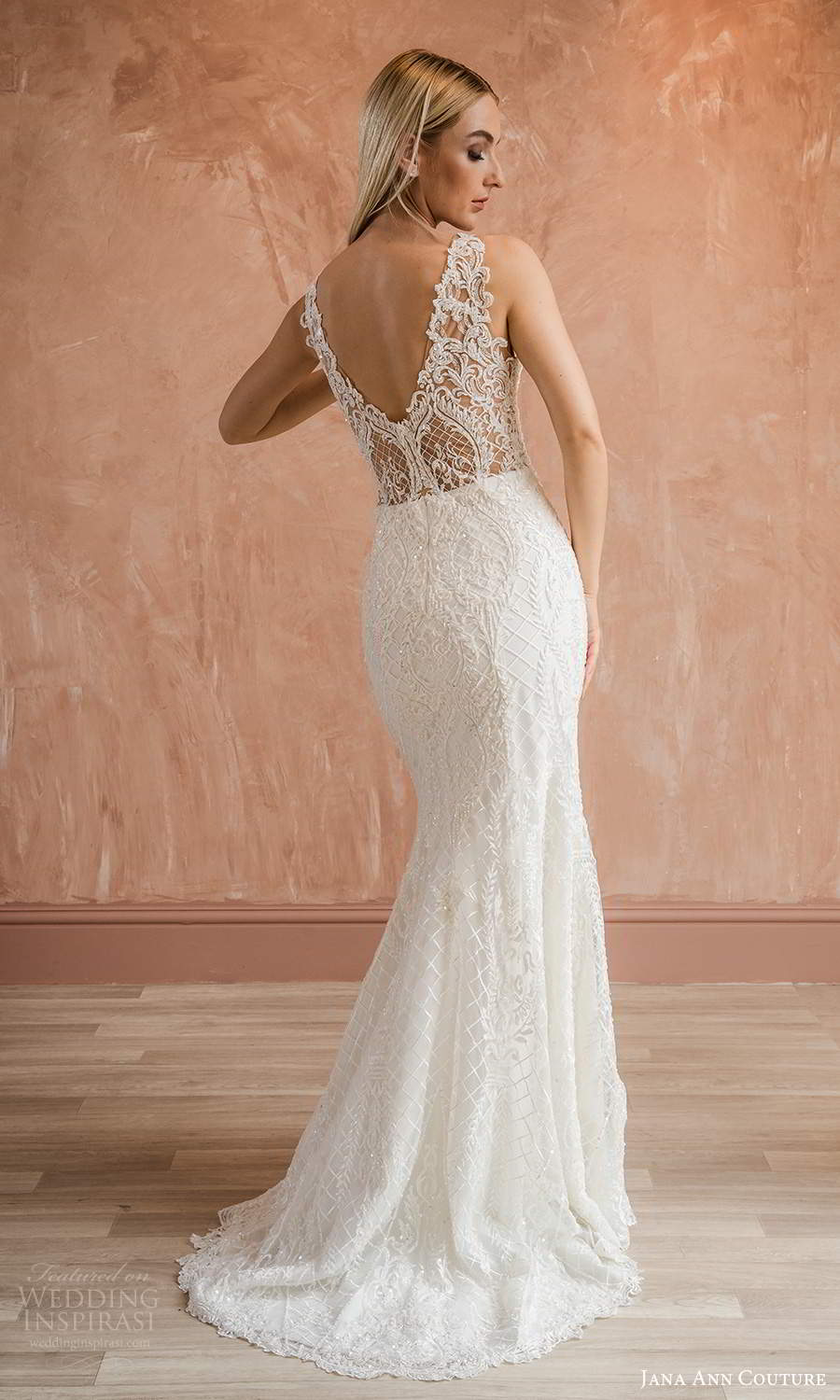jana ann couture 2021 bridal sleeveless straps sweetheart neckline fully embellished sheath wedding dress chapel train v back (2) bv