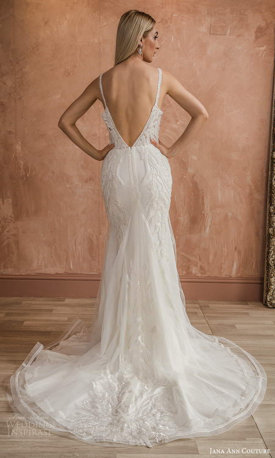 jana ann couture 2021 bridal sleeveless straps v neckline fully embellished sheath wedding dress chapel train (23) bv