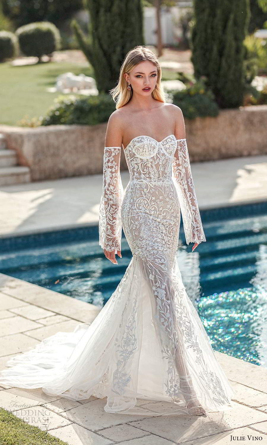 julie vino 2021 romanzo bridal detached long flare sleeves strapless sweetheart neckline fully embellished lace sheath wedding dress chapel train (7) mv