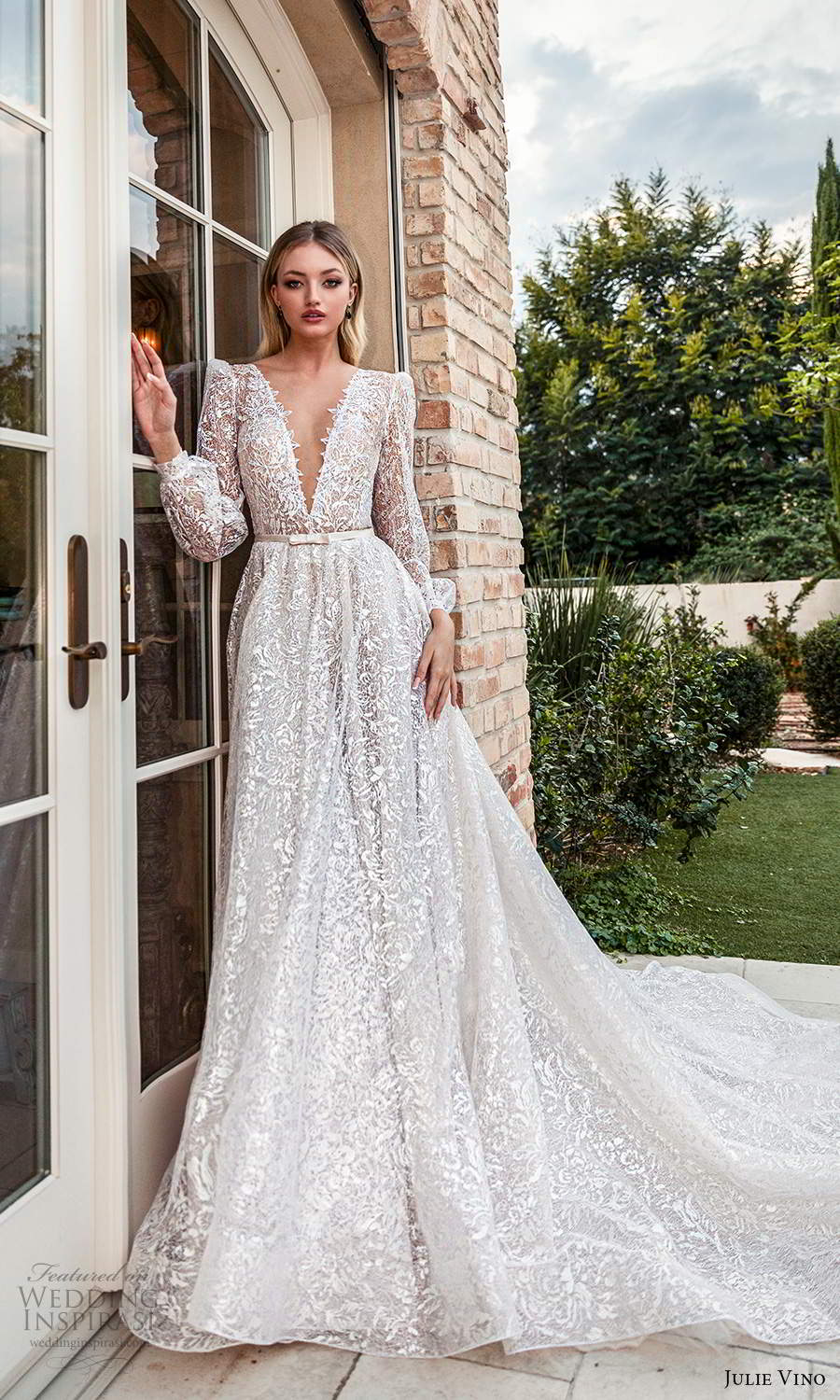 julie vino 2021 romanzo bridal long puff sleeves plunging v neckline fully embellished a line ball gown wedidng dress chapel train (1) mv