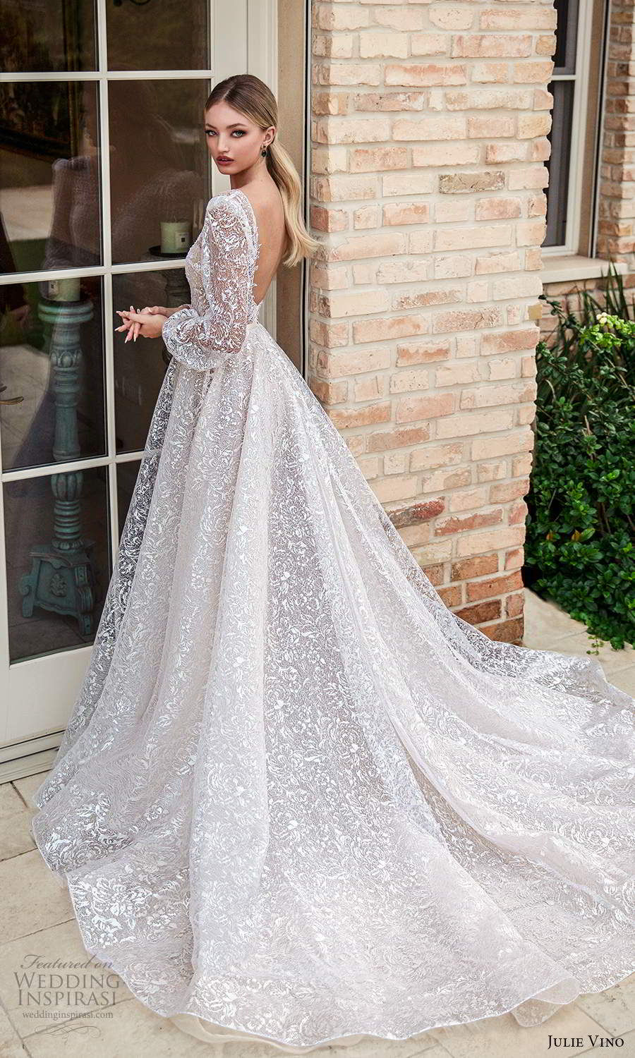 julie vino 2021 romanzo bridal long puff sleeves plunging v necklinen fully embellished a line ball gown wedidng dress chapel train (1) bv