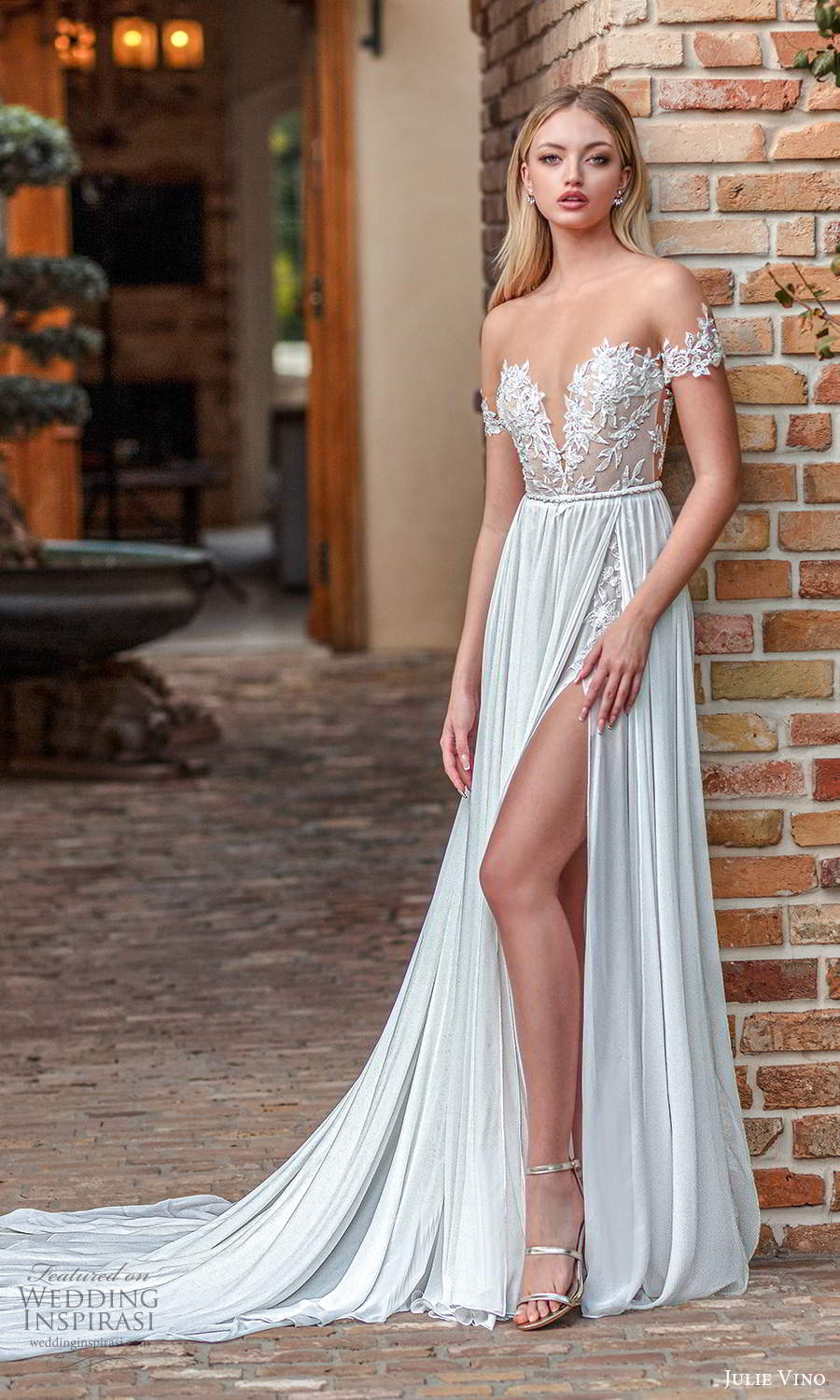julie vino 2021 romanzo bridal off shoulder straps plunging sweetheart neckline embellished bodice clean skirt a line ball gown wedding dress chapel train slit trian (8) mv