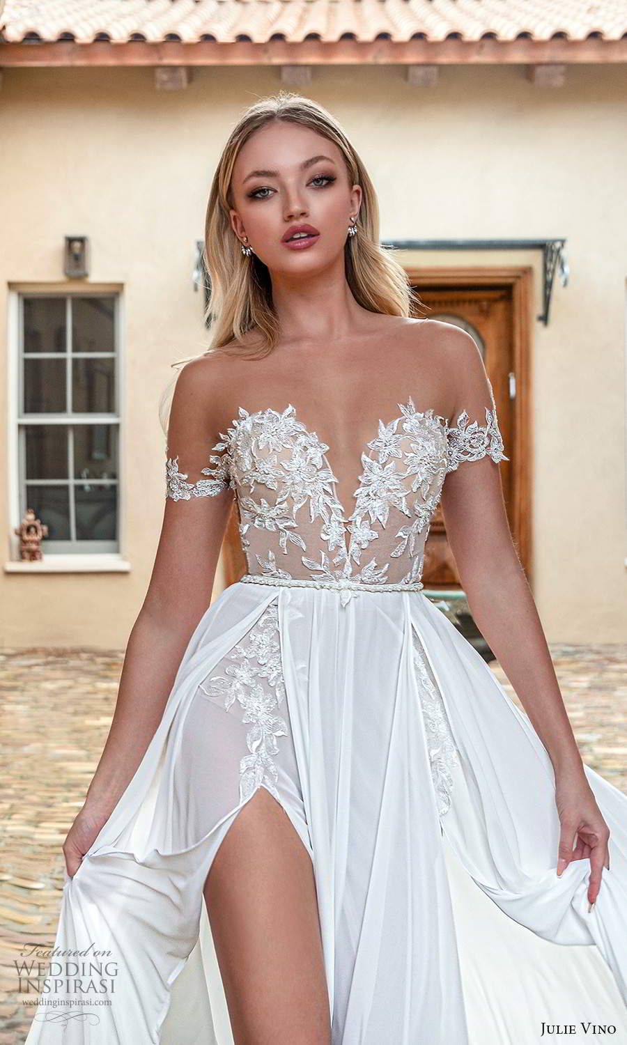 julie vino 2021 romanzo bridal off shoulder straps plunging sweetheart neckline embellished bodice clean skirt a line ball gown wedding dress chapel train slit trian (8) zv