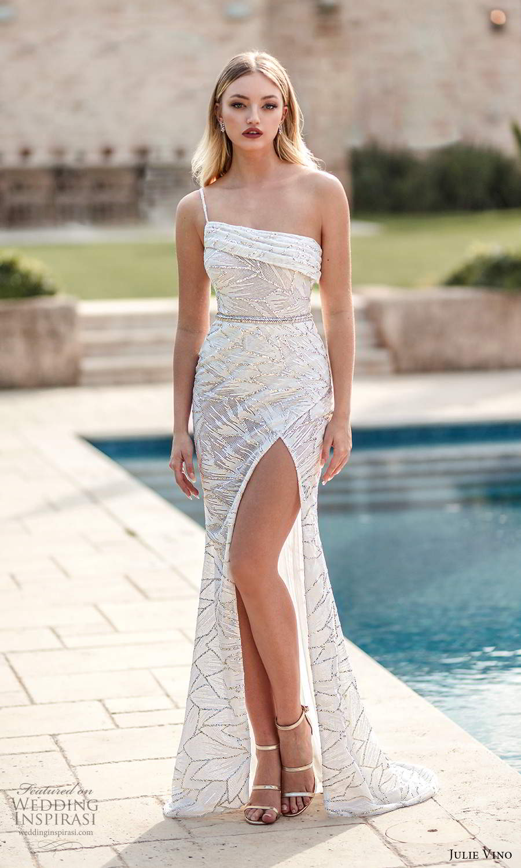 julie vino 2021 romanzo bridal one shoulder strap asymmetric straight across neckline fully embellished sheath wedding dress slit skirt sweep train (6) mv