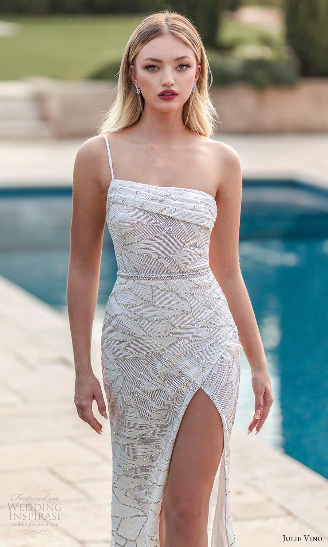 julie vino 2021 romanzo bridal one shoulder strap asymmetric straight across neckline fully embellished sheath wedding dress slit skirt sweep train (6) zv