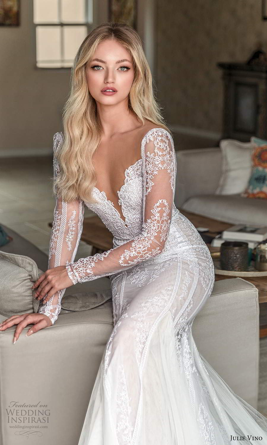 julie vino 2021 romanzo bridal sheer long sleeves v neckline fully embellished lace fit flare mermaid wedidng dress chapel train (4) zv