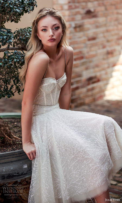 julie vino 2021 romanzo bridal sleeveless beaded straps sweetheart neckline fully embellished high low tea length wedding dress blush (10) zv