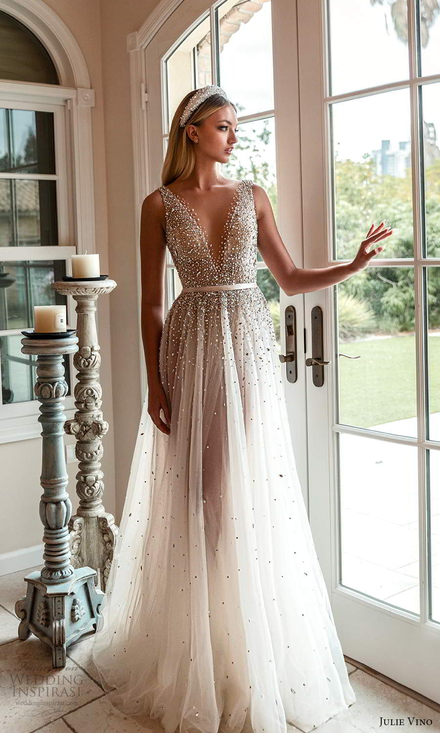 julie vino 2021 romanzo bridal sleeveless straps plunging v neckline heavily embellished bodice a line ball gown wedding dress chapel train v back (5) mv