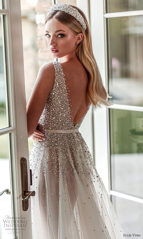 julie vino 2021 romanzo bridal sleeveless straps plunging v neckline heavily embellished bodice a line ball gown wedding dress chapel train v back (5) zbv