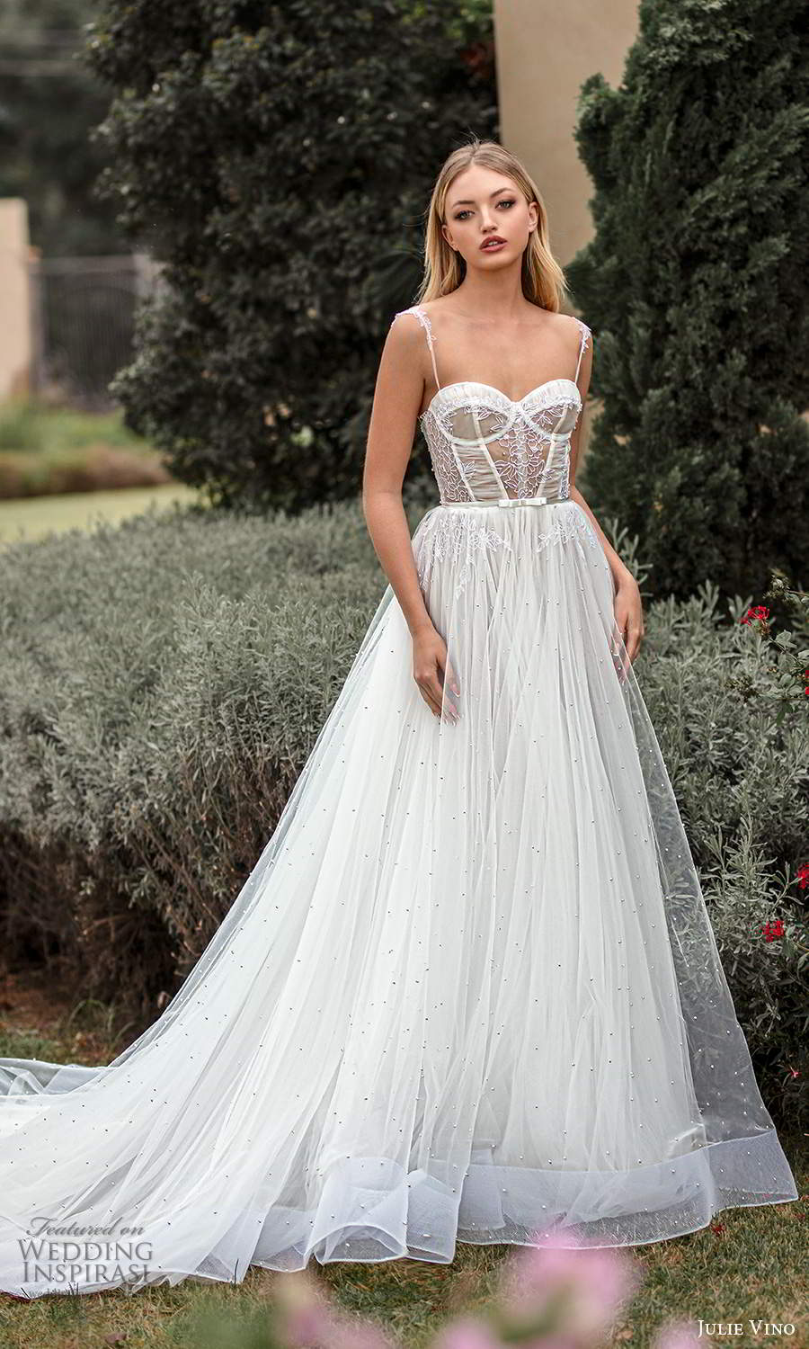 julie vino 2021 romanzo bridal sleeveless straps sweetheart neckline embellished bodice a line ball gown wedding dress chapel train (3) mv