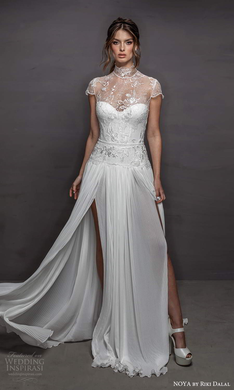 noya riki dalal 2021 bridal cap sleeves sheer high neck sweetheart neckline embellished bodice a line wedding dress slit skirt (19) mv