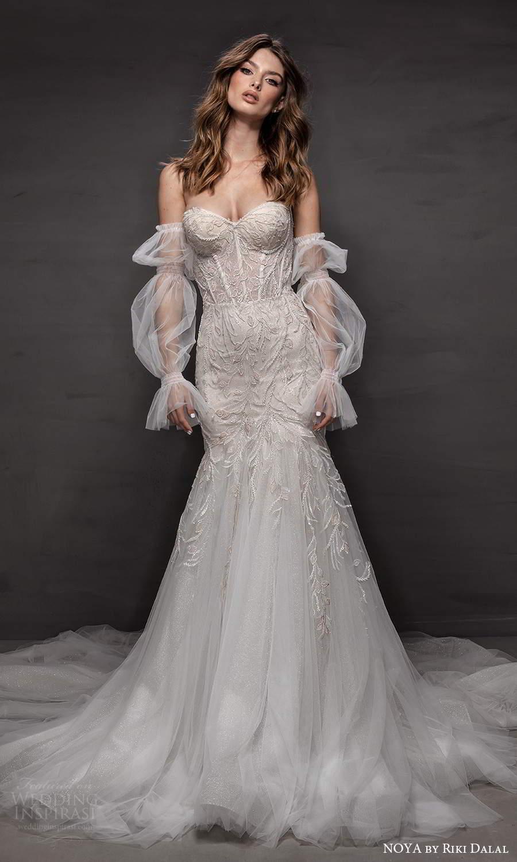 noya riki dalal 2021 bridal detached puff sleeves strapless sweetheart neckline fully embellished fit flare mermaid wedding dress chapel train (3) mv