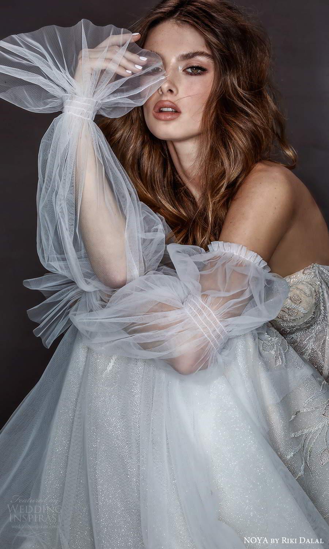 noya riki dalal 2021 bridal detached puff sleeves strapless sweetheart neckline fully embellished fit flare mermaid wedding dress chapel train (3) zv