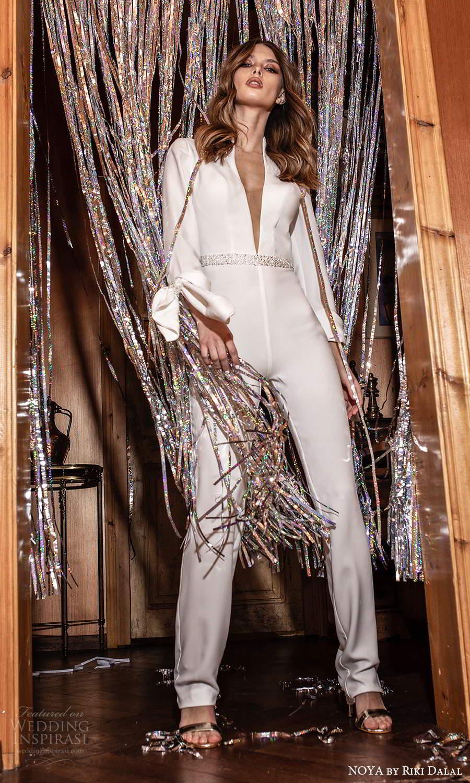 noya riki dalal 2021 bridal long sleeve plunging v neckline trouse pant suit wedding dress (23) mv