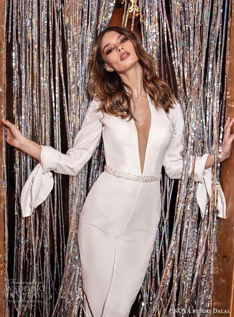 noya riki dalal 2021 bridal long sleeve plunging v neckline trouse pant suit wedding dress (23) zv