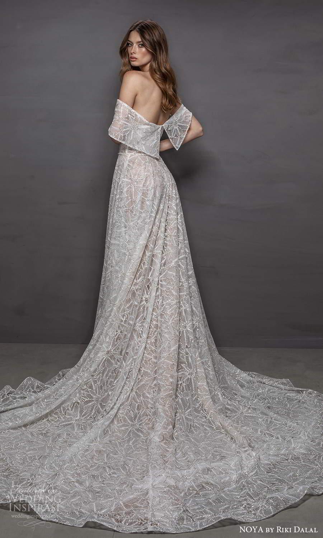 noya riki dalal 2021 bridal off shoulder sleeves asymmetric necklibe fully embellished a line wedding dress chapel train (8) bv