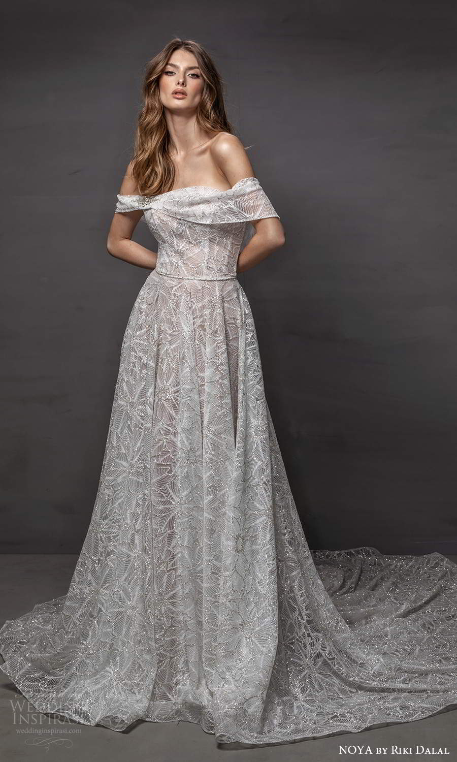 noya riki dalal 2021 bridal off shoulder sleeves asymmetric necklibe fully embellished a line wedding dress chapel train (8) mv